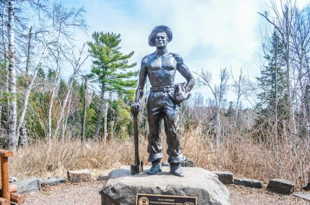 Gooseberry Falls State Park Civilian Conservation Corps Statue