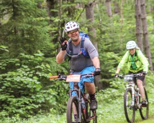 Lutsen 99er Bikers on Narrow Trails