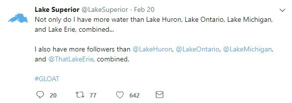 Lake Superior's Twitter Takes on the Other Great Lakes