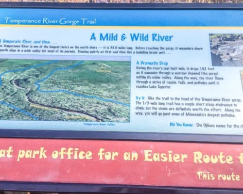 A Mild & Wild River sign at Temperance River State Park