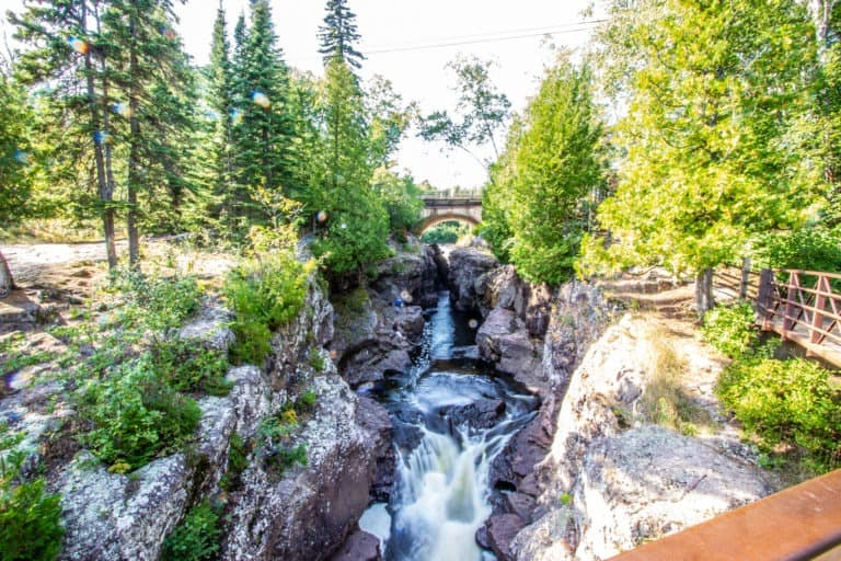 Waterfall Under Highway 61 at Temperance River State Park