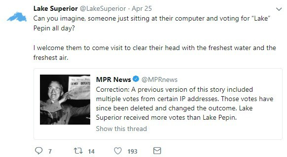 Lake Superior's Twitter Announces Victory Over Lake Pepin