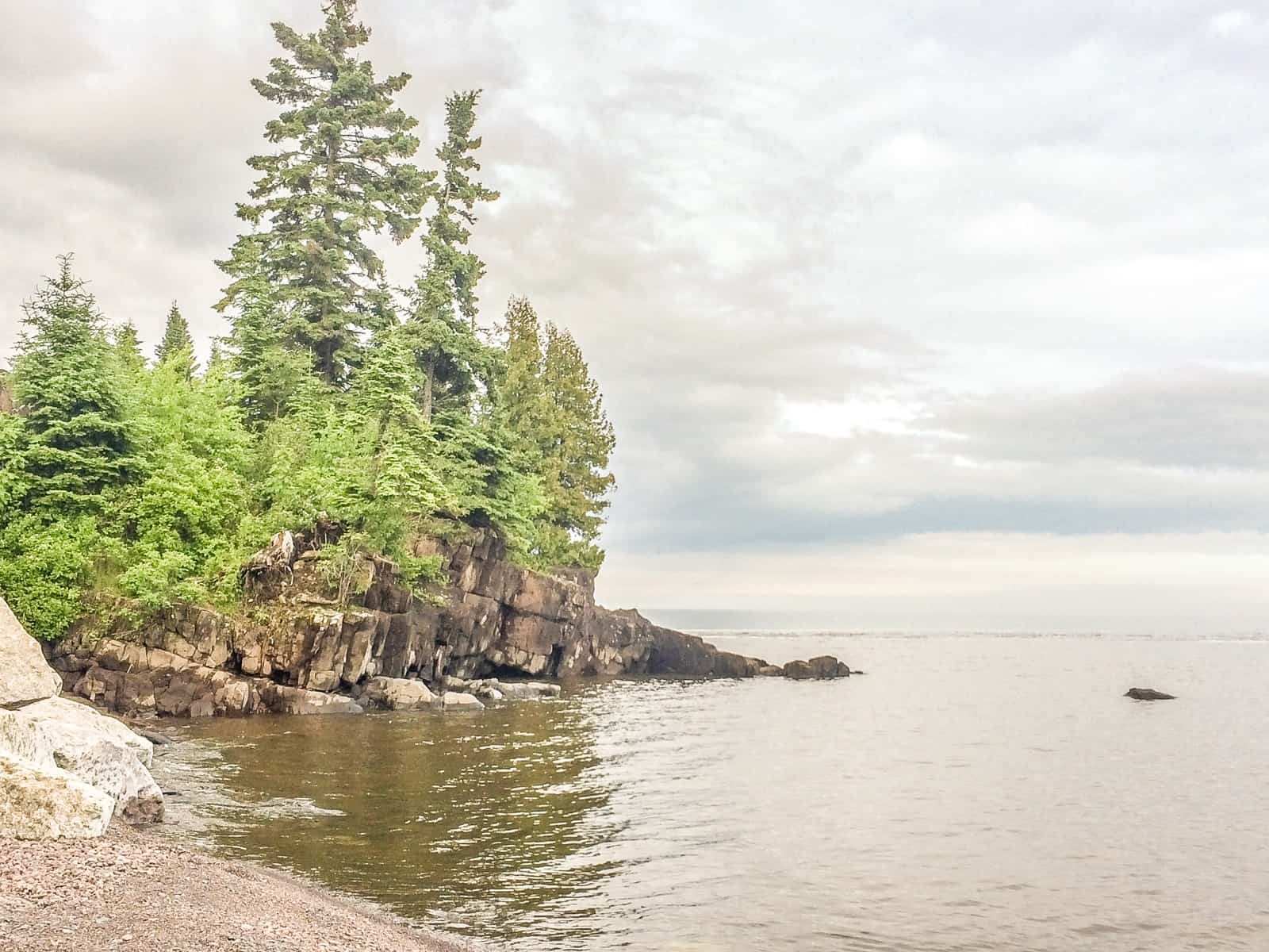 Mouth of the Cascade River and Lake Superior at the Cascade River State Park