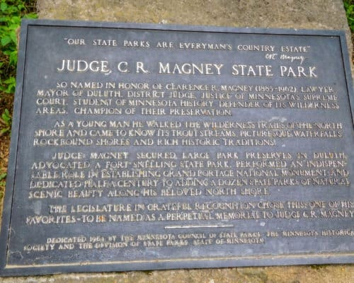 Judge CR Magney State Park park information plaque