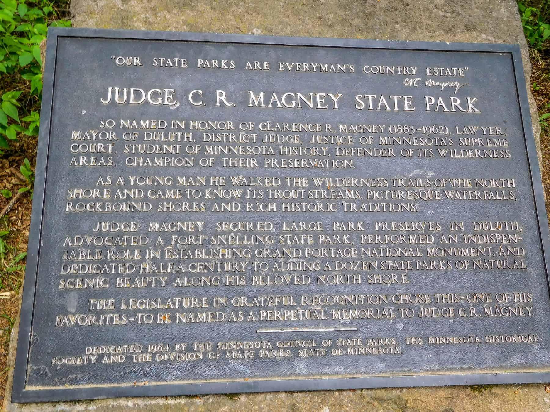 Judge CR Magney State Park park information plaque