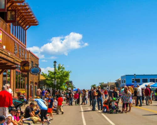 Downtown Grand Marais is bustling during Fisherman's Picnic