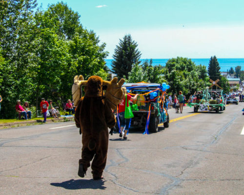 Murray the Moose leads the Fisherman's Picnic Parade