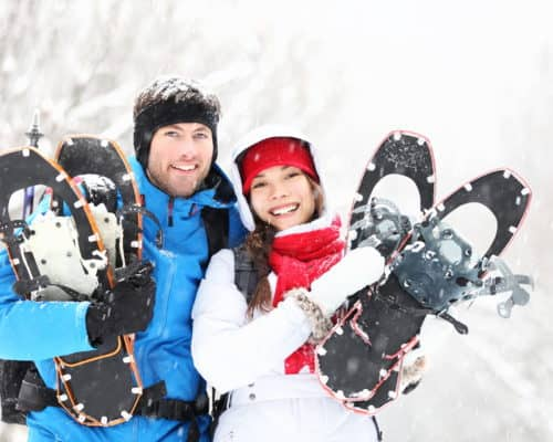 Enjoy romantic Candlelit Snowshoe Hikes at Tettegouche State Park